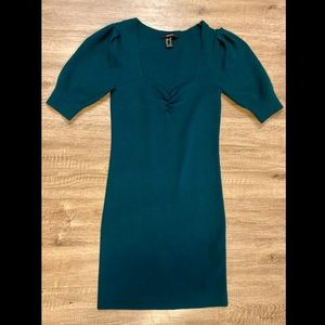 FOREVER21 Teal Tight Dress w/ Puff Sleeve Dress